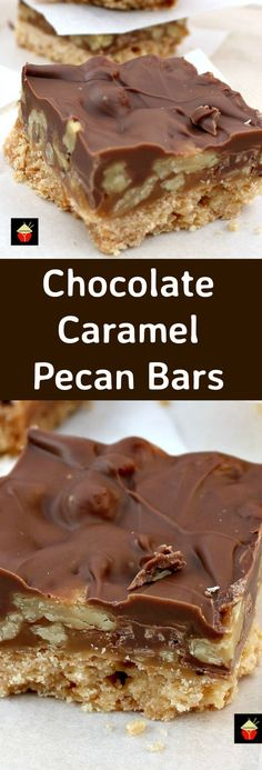 Chocolate Caramel Pecan Bars. These are so addictive! Easy to make and always popular! Flexible so you can use your favorite chocolate, like milk, dark, white and also use whatever nuts you love! | Lovefoodies.com
