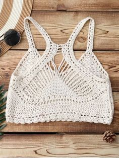 Knitting Crochet Bikini Top - BEIGE ONE SIZE