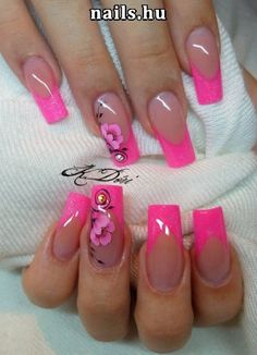 makeup nailart hansen magical nail makeup prom dress makeup nail design nail art nailart nail art designs nail designs nail makeup and makeup salon design Pink Toe Nails, Pink Nail Art, Pink Acrylic Nails, Neon Nails, Fancy Nails, Bling Nails, Cute Nails, Nail Tip Designs, Colorful Nail Designs