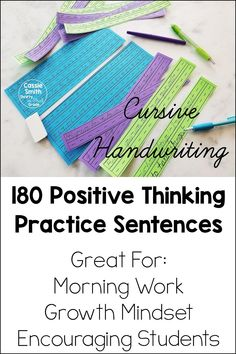 Short on time, but want to teach your students how to write in cursive? These handwriting practice pages are just what you need. There are alphabet pages to teach your students how to form each letter. There are also 180 positive thinking sentences that can encourage your students and help them develop a growth mindset. Your students will love to develop their handwriting skills. Third Grade Reading, Student Reading, Guided Math, Guided Reading, Cursive Handwriting Practice, School Themes, Growth Mindset, Positive Affirmations, Elementary Schools