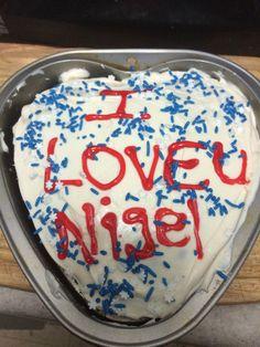 Chocolate heart cake for hubby