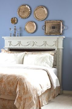 Grand Mantelpiece Headboard, which is perfect for a queen bed.now to go thrifting for mantels, sans fire places. Fireplace Mantle Headboard, Fireplace Mantels, Mantles, Headboards For Beds, Headboard Ideas, Guest Bedrooms, Guest Room, Queen, Bedroom Wall