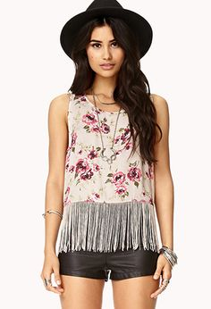 Wild Rose Fringe Top | FOREVER21 - 2000128702