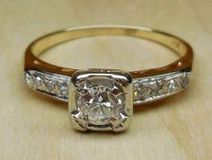 Vintage Antique .62ct Old Mine Cut Diamond 14k White Yellow Gold Engagement Ring 1920's Art Deco by DiamondAddiction on Etsy