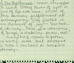 Sylvia Plath's student notes on To the Lighthouse, 1952.