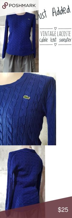 Vintage Lacoste blue cable knit cotton sweater Vintage Lacoste blue cable knit cotton sweater  Great quality sweater no visable signs of wear or damage  Pre owned condition *******All items are in pre owned condition, Nothing, unless noted , is brand new **** please ask questionsFor sale in my posh closet  www.poshmark.com/closet/poshmarkmentors  #poshmarkseller #collections #followforfollow #fashionphotography #bloggers #ladiesoffashion #fashionfinds #shopping #buyitnow #selling #poshmark…