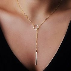 Fashion Circle Strip Shape Tiny Pendant Necklace(1 Pc) – USD $ 0.99
