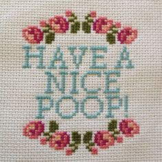 Bathroom encouragement cross stitch (ABC)