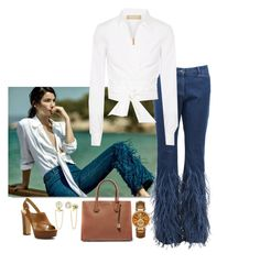"""Feathered Jeans!!"" by easy-dressing ❤ liked on Polyvore featuring White Label, Michael Kors and MICHAEL Michael Kors"