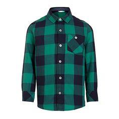 Buy John Lewis Boys' Melange Check Shirt, Navy/Green Online at johnlewis.com