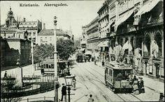 Kristiania Christiania Oslo  AAKERSGADEN. Ved Wesselsplass. Flott nærmotiv med trikk nr 12 og 2a ndre trikker bak. Ellers folk og små butikker, stemplet 1910