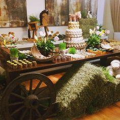 Linda mesa com tema fazenda by @mazedecoreflor com bolo de macarons e macarons decorados.  #maymacarons #macarons #macaronsdecorados #mesasdecoradas #personalizado #cores #sabores #personalizacao