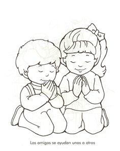 Dibujo De Ninos Orando Imagenes Cristianas Para Imprimir Y Pintar