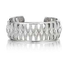 Tacori Classic Rock Sterling Silver Wide Crescent Cuff Bangle ($990) ❤ liked on Polyvore featuring jewelry, bracelets, tacori, sterling silver cuff bracelet, rock jewelry, wide cuff bracelet and tacori jewelry