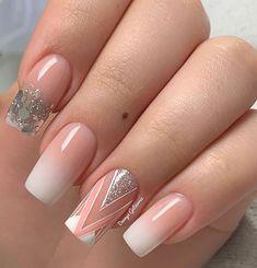 French Nail Designs, Nail Art Designs, French Nails, Beauty Nails, Hair Beauty, Geometric Nail, Pretty Nail Art, Best Acrylic Nails, Love Nails