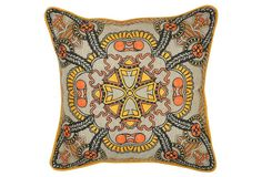 Parke 18x18 Linen Pillow, Multi | One Kings Lane | A bold motif and coordinating embroidery brighten up this lovely, linen pillow. The feather-and-down fill ensures long-lasting loftiness | 145.00 retail | 69.00 OKL