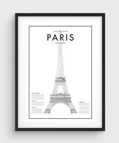 Cartel de mínima torre Eifel de París, blanco y negro mínima impresión carteles, arte, arte, Inicio gráficos mínimos, cartel de París