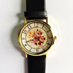 Floral Watch Vintage Style Leather Watch