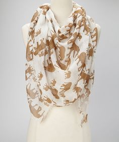 Take a look at this White Linking Elephants Scarf by Collection 18 on #zulily today!