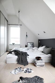 grey scale loft bedroom