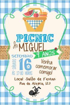 Convite Picnic Azul