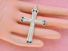 www.MelsAntiqueJewelry.com ANTIQUE NOUVEAU PLIQUE-A-JOUR BLUE ENAMEL 1.20ctw DIAMOND CROSS PENDANT 1910 www.MelsAntiqueJewelry.com #ReligiousJewelry #CROSSPENDANT #DiamondCross #AntiqueCross