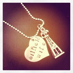 Oilfield wife necklace. $19.00, via Etsy..love this but need a Bit instead of the rig for my hubby :-)
