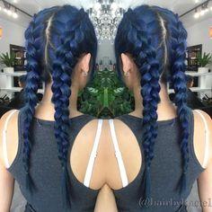 Dark Blue Hairstyles That Will Brighten Up Your Look Dark Blue PigtailsDark Blue Pigtails Dark Blue Hair Dye, Hair Color Blue, Hair Dye Colors, Green Hair, Dark Hair, Purple Hair, Denim Blue Hair, Navy Blue Hair, Pelo Color Borgoña