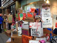 Boxes at the Dear Ivanka Trump Moving protest. Courtesy of Sarah Cascone.