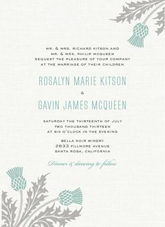 Wild thistle wedding invitation with a linen texture background.