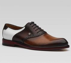 Bi-Color Perforated Leather Lace-Ups