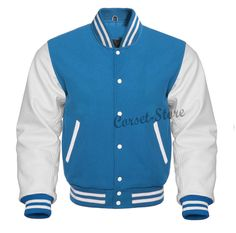 Fashion Club MENS VARSITY REAL LEATHER//WOOL LETTERMAN JACKET BLACK W//CREAM LEATHER SLEEVES 4XL Regular