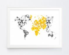 Yellow Gray World Map Print, Mustard and Grey World Map Wall Art, Gold and Shadows of Grey Triangle Wall Art, INSTANT DOWNLOAD