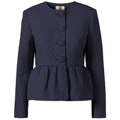 Navy Blue Flower Spot Jacquard Jacket ❤ liked on Polyvore featuring outerwear, jackets, peplum jacket, polka dot jacket, navy jacket, blue jackets and navy blue jackets