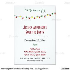 Retro Lights Christmas Holiday Sweet 16 Birthday 3.5x5 Paper Invitation Card