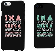 Amazon.com: 365 Printing Weirdo and Freak Black Matching Best Friends Phone Cases Christmas Gift for BFF: Cell Phones & Accessories