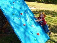 Whee! This climbing wall is cheap and easy to make from reclaimed wood.