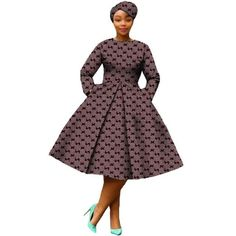African Dress Women Full Sleeve Calf-Length Ball Grown Casual Dress with Scarf African Bridesmaid Dresses, African Wear Dresses, Latest African Fashion Dresses, African Print Fashion, African Attire, African Dress Designs, African Design, African Prints, Setswana Traditional Dresses