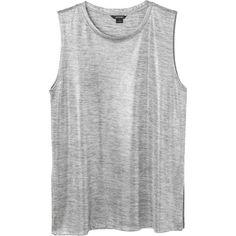 Monki Adele singlet ($11) ❤ liked on Polyvore featuring tops, shirts, silver metallic, silver metallic top, monki, silver metallic shirt and grunge shirts