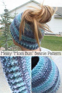 Crochet Messy Mom Bun Beanie – Free Pattern - 16 Free Crochet Cap Patterns / Crochet Hat - DIY & Crafts