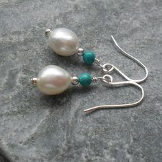 Freshwater Cultured Pearl and Turquoise Sterling Silver Drop Earrings £12.95 Silver Drop Earrings, Wire Earrings, Pearl Earrings, Pearl Shop, Silver Pearls, Handmade Sterling Silver, Organza Bags, Cultured Pearls, Fresh Water