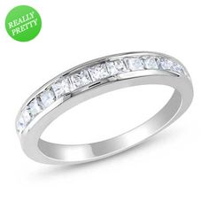I've tagged a product on Zales: Princess-Cut Lab-Created White Sapphire Anniversary Band in Sterling Silver