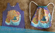 DIY Beach tote from old tank... this would also be great for old t-shirts that I like but don't wear anymore!