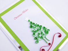 Christmas Tree Quilled Card. Handmade quilling and can be personalised with names