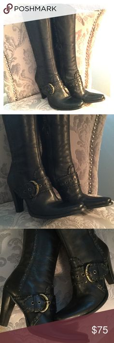 """Beautiful black heeled boots! These boots have beautiful details. Scalloped edge top. Buckles and small rivets all over. Black leather with half length zip on sides. 4"""" heels. Very little wear. Made in Brazil. Just beautiful. Shoes Heeled Boots"""