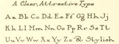 """Alphabet from the public domain book, """"One hundred alphabets for the show card writer."""" Download or browse this book in epub, kindle or pdf format for your calligraphy inspiration here:  https://archive.org/stream/onehundredalphab00chic"""