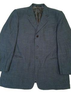 Armani Collezioni Saks Fifth Avenue Italy Wool Checkered Men's 44R Blazer #ArmaniCollezioni #ThreeButton
