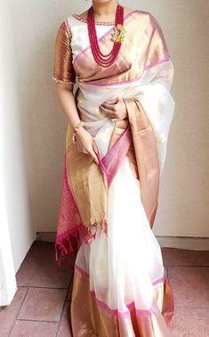 Kanchi Kora Double side big border with contrast pallu & brocade blouse. WhatsApp Maneeti - 9539820656 Kanchi Kora Double side big border with contrast pallu & brocade blouse. Pattu Saree Blouse Designs, Half Saree Designs, Saree Blouse Patterns, Designer Blouse Patterns, Fancy Blouse Designs, Brocade Blouse Designs, Kaftan, Stylish Blouse Design, Pin On