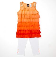 Two Piece Tiered Ruffle Tank and Legging Set