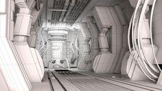"Sci-fi hallway wireframe - pavolsk - SMC #72 ""Access Granted"""